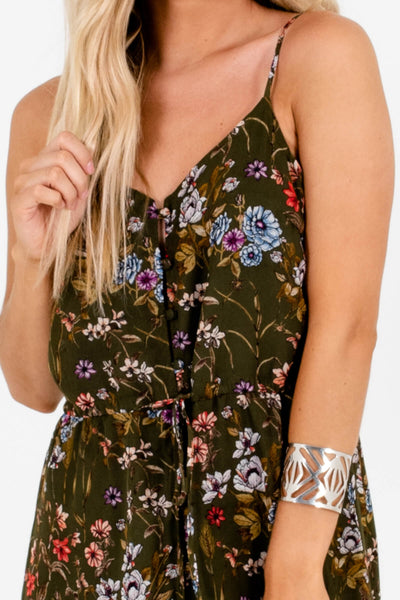 Olive Green Multicolored Floral Print Boutique Maxi Dresses