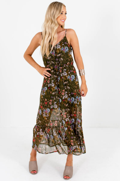 Olive Green Boutique Floral Maxi Dresses with Partial Lining