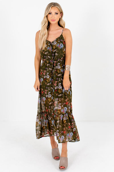 Olive Green Floral Button-Up Maxi Dresses Affordable Online Boutique
