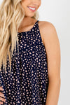 Navy Blue Pink White Leopard Print Cute Halter Tanks for Women