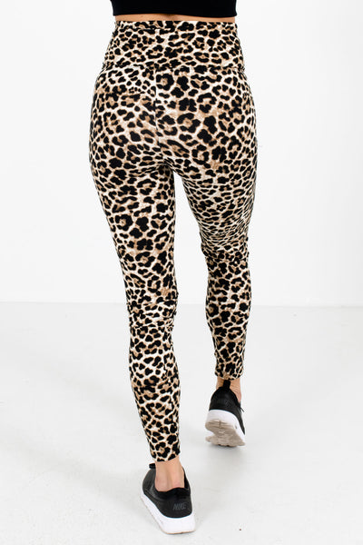 Women's Beige Leopard Print High Waisted Style Boutique Active Leggings