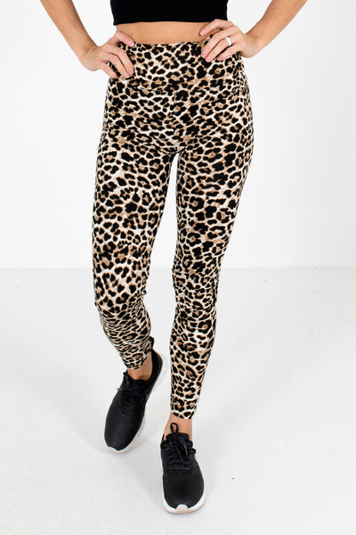Beige Leopard Print Cute and Comfortable Boutique Active Leggings for Women