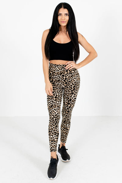 Women's Beige Leopard Print Casual Everyday Boutique Active Leggings