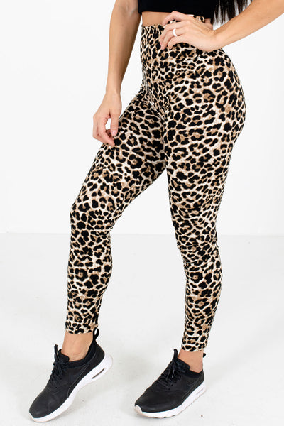 Beige and Black Leopard Print Patterned Boutique Active Leggings for Women