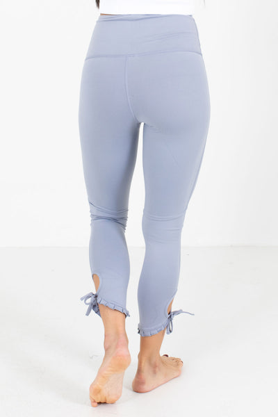 Women's Light Blue Ruffled Hem Accent Boutique Active Leggings