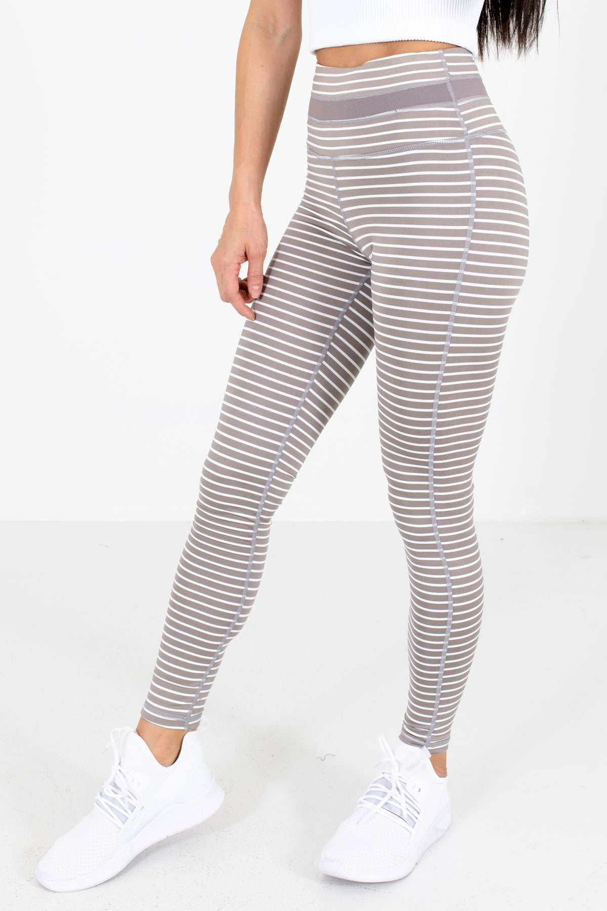 Light Purple and White Striped Active Boutique Leggings for Women