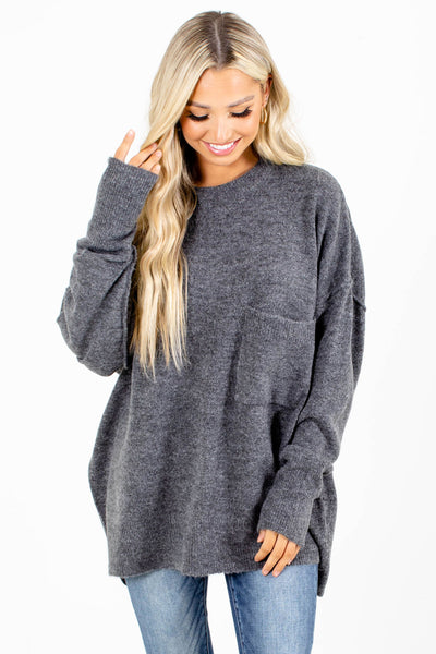 Charcoal Gray Front Pocket Boutqiue Sweaters for Women