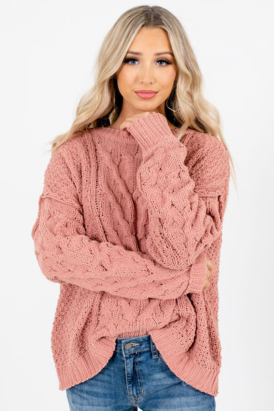 Women's Coral Casual Everyday Boutique Sweaters