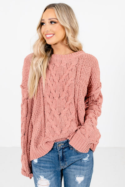 Coral High-Quality Cable Knit Material Boutique Sweaters for Women