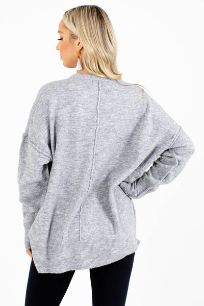 Women's Gray Knit Material Boutique Sweater