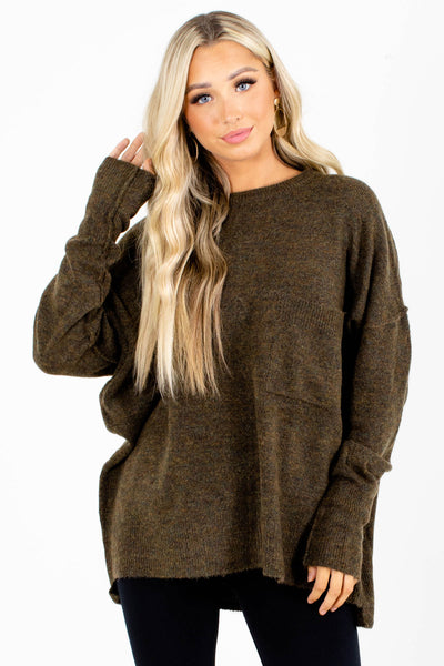 Olive Cute and Comfortable Boutique Sweaters for Women