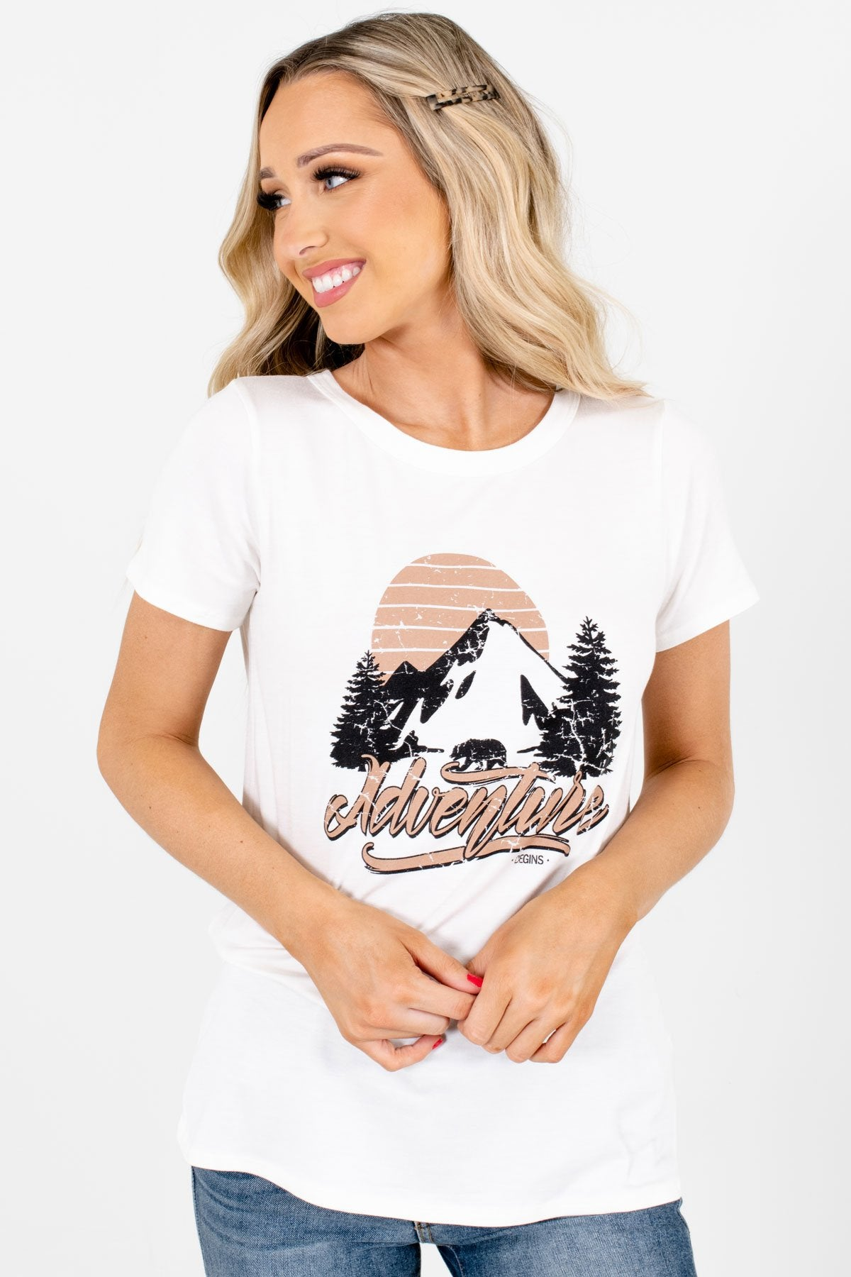 "White ""Adventure Begins"" Lettering Boutique Graphic Tees for Women"