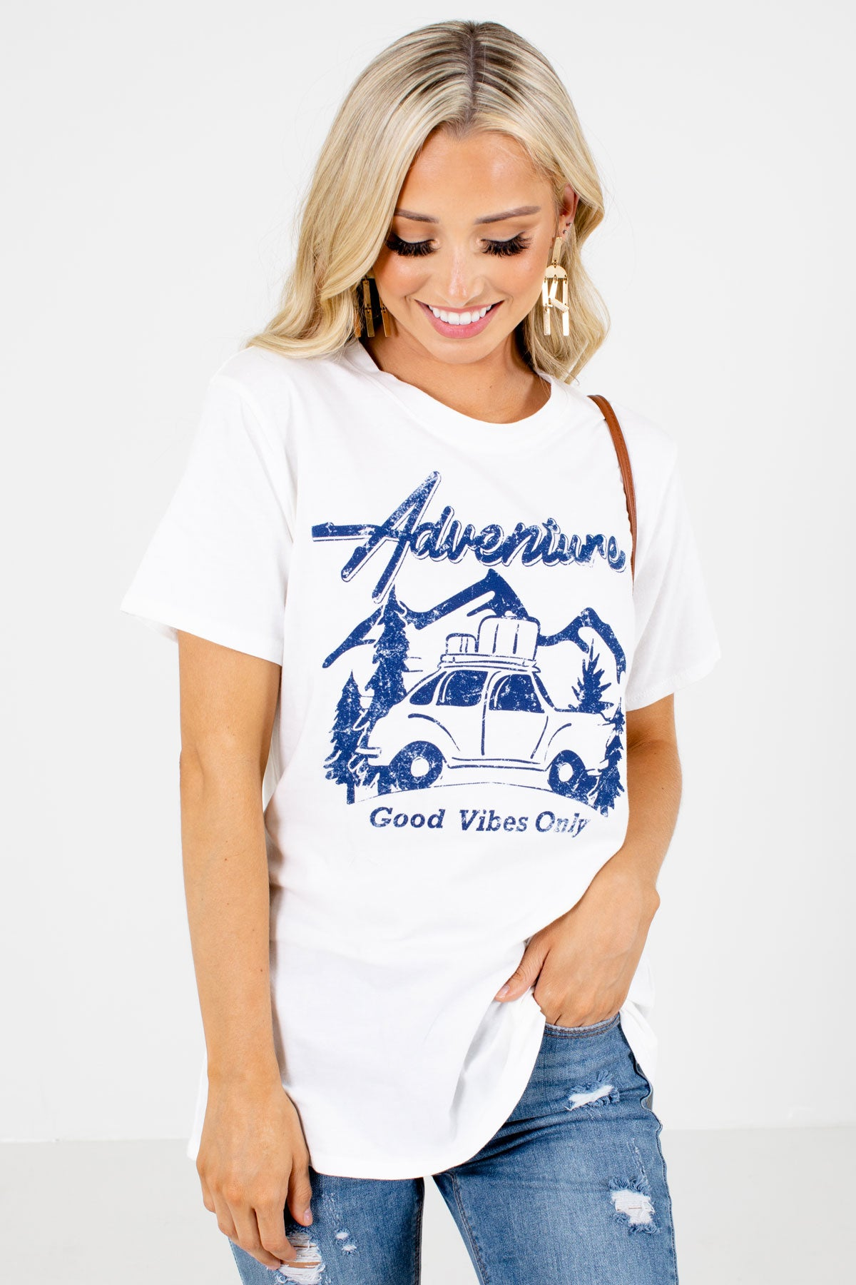 White and Blue Boutique Graphic T-Shirts for Women