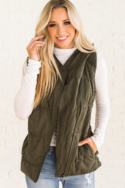 Olive Green Warm and Cozy Boutique Vests for Women