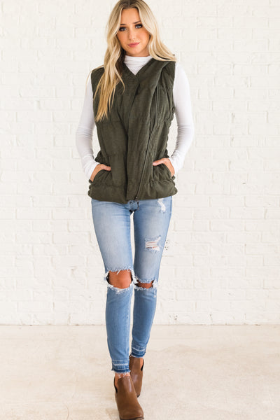 Olive Green Cute and Casual Women's Outerwear