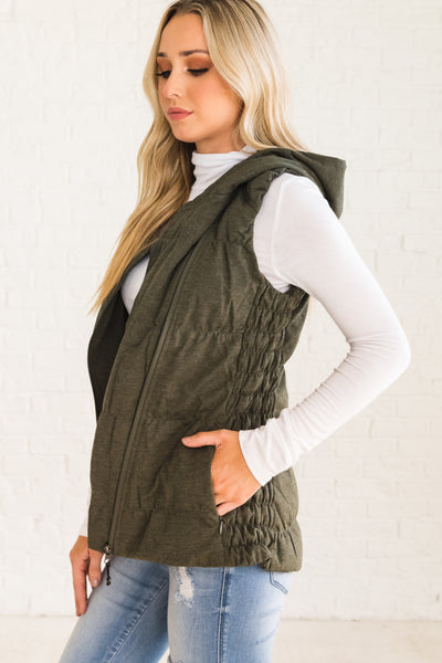 Olive Green Boutique Vest with Flattering Smocked Sides