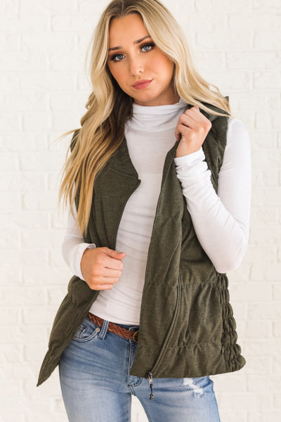 Olive Green Outerwear Vests for Women