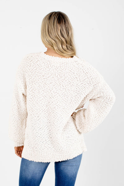 Women's Cream Round Neck-Line Boutique Sweater