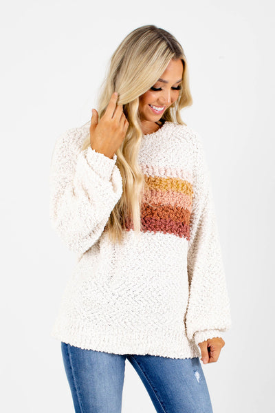 Women's Cream Popcorn Knit Boutique Sweater