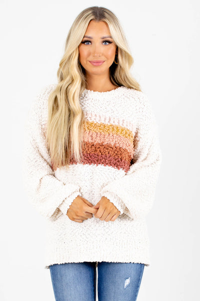 Cream Striped Boutique Sweaters For Women