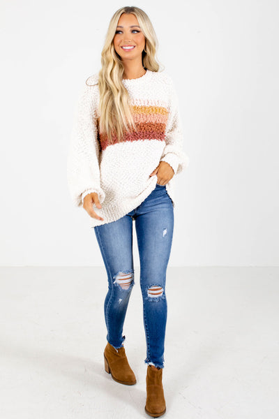 Cream Cute and Comfortable Boutique Sweaters For Women