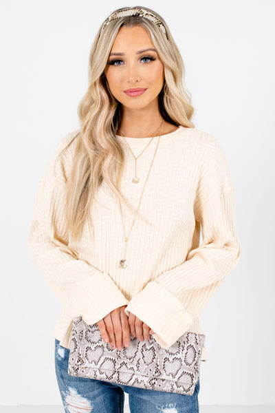 Cream High-Quality Ribbed Material Boutique Tops for Women