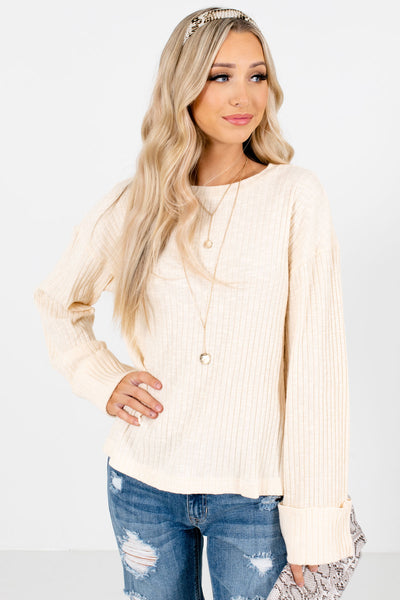 Women's Cream Business Casual Boutique Tops