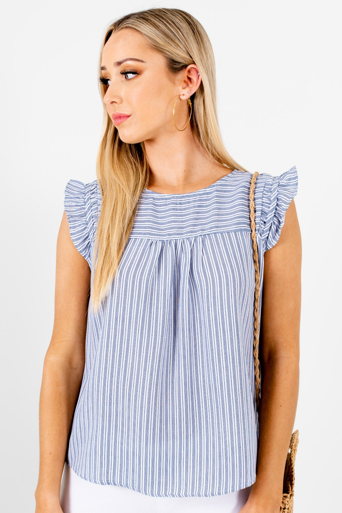 Navy Blue and White Striped Boutique Tops for Women