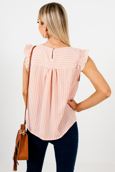 Women's Orange and White Striped Pleated Detailed Boutique Top