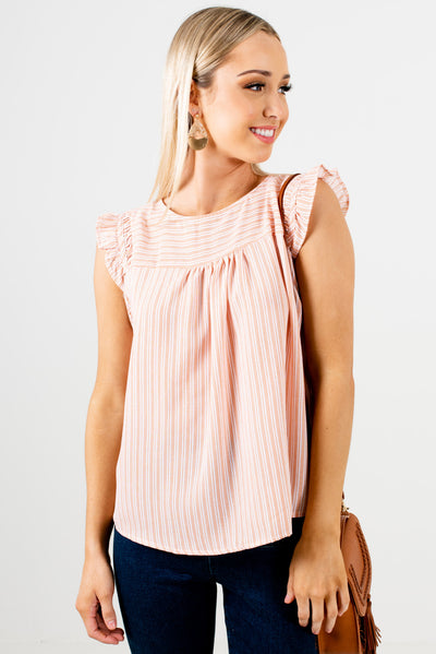 Orange and White Striped Pattern Boutique Tops for Women