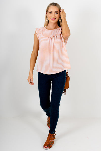 Orange and White High-Quality Flowy Boutique Tops for Women