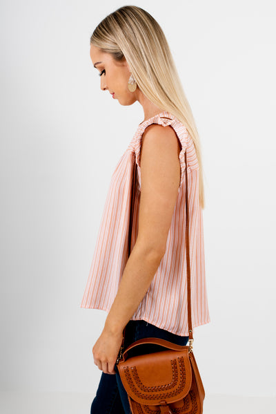 Orange and White Striped Ruffled Sleeve Boutique Tops for Women
