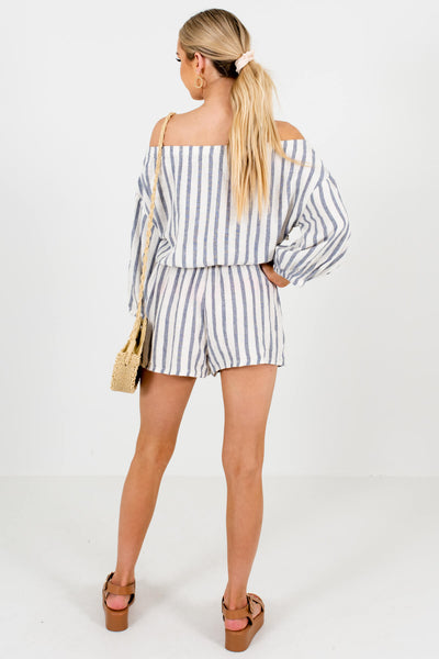 Cream Blue Striped Off Shoulder Button-Up Rompers with Pockets