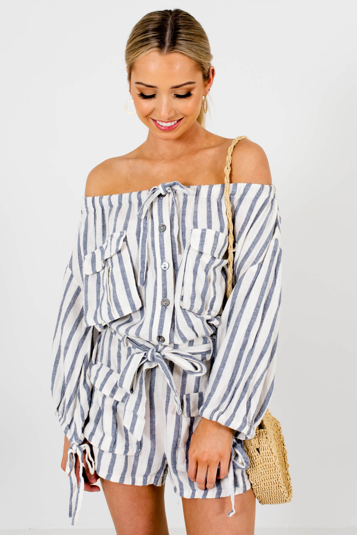 Cream Blue Nautical Striped Utility Button-Up Off Shoulder Rompers