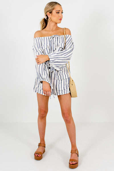 Cream Blue Striped Off Shoulder Button-Up Utility Rompers for Women