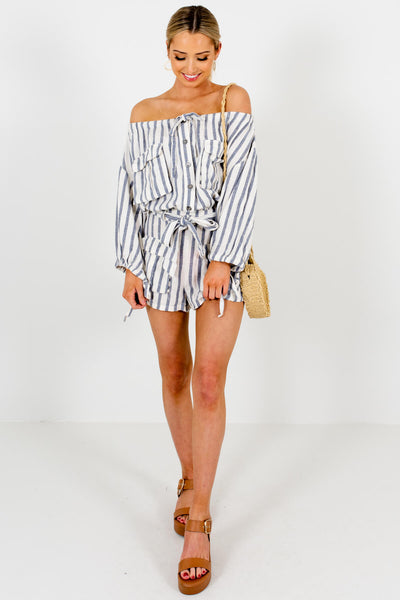 Cream Blue-Gray Striped Linen Rompers Affordable Online Boutique