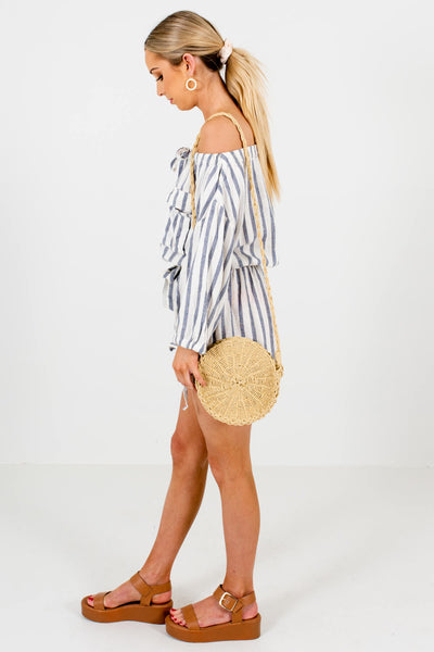Cream Blue-Gray Striped Off Shoulder Rompers with Buttons and Pockets
