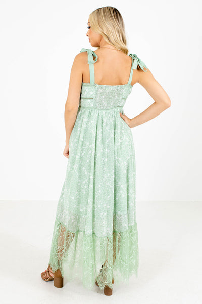 Women's Green Smocked Back Boutique Maxi Dress