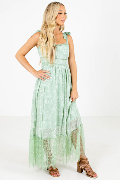 Green Self-Tie Strap Boutique Maxi Dresses for Women