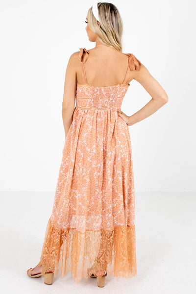 Women's Orange Lace Detailed Boutique Maxi Dress