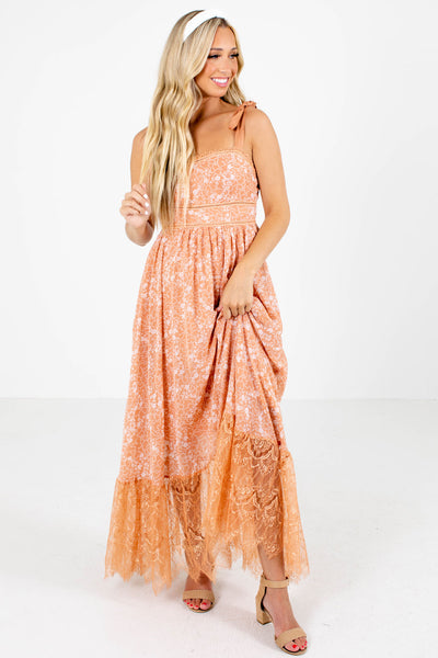 Orange Crochet Detailed Boutique Maxi Dresses for Women