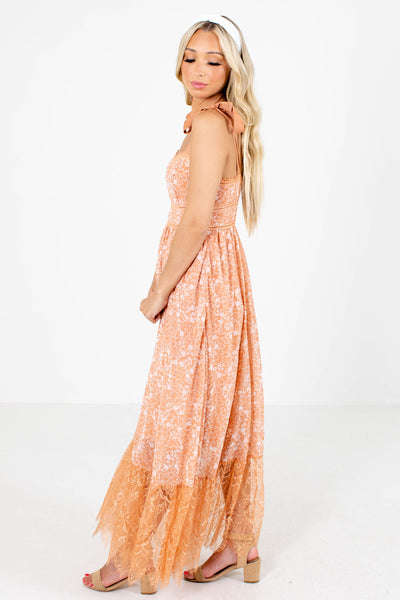 Women's Orange Partially Lined Boutique Maxi Dress