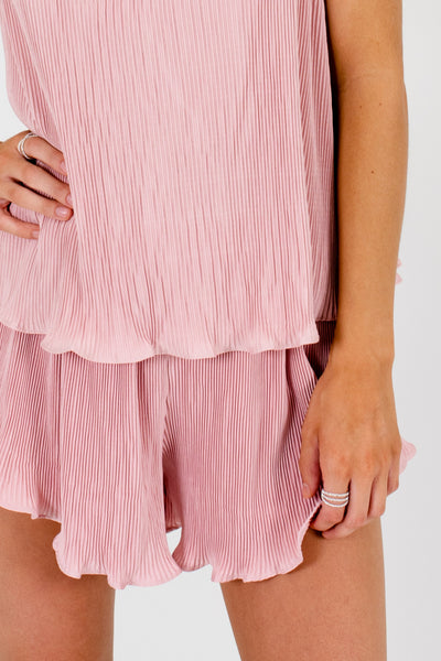 Blush Pink Pleated Two-Piece Set Affordable Online Boutique