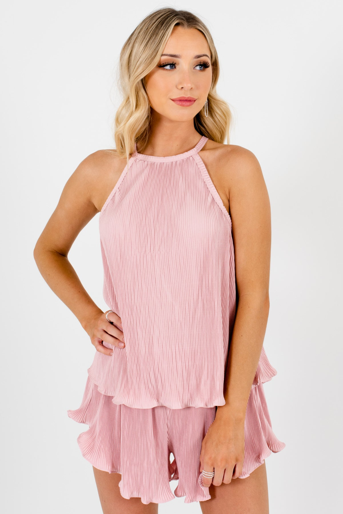 Pink Pleated Satin Two-Piece Tank and Shorts Set with Ruffle Hem