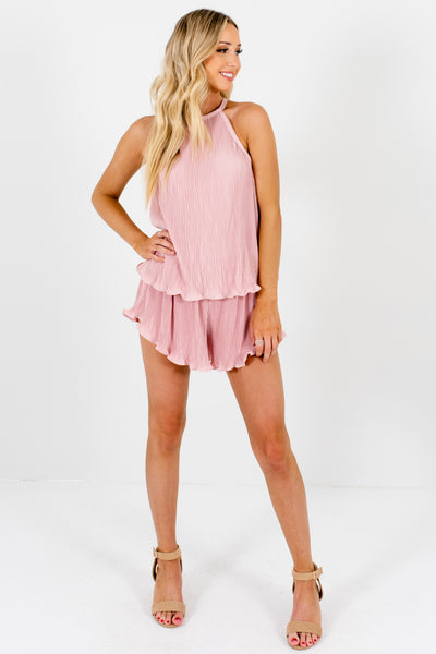 Blush Pink Two-Piece Tank and Shorts Set with Pleated Ruffle Material