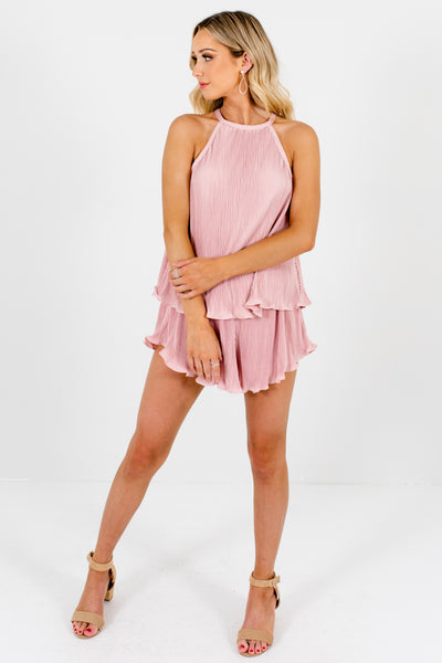 Blush Pink Pleated Ruffle Two-Piece Matching Sets Boutique