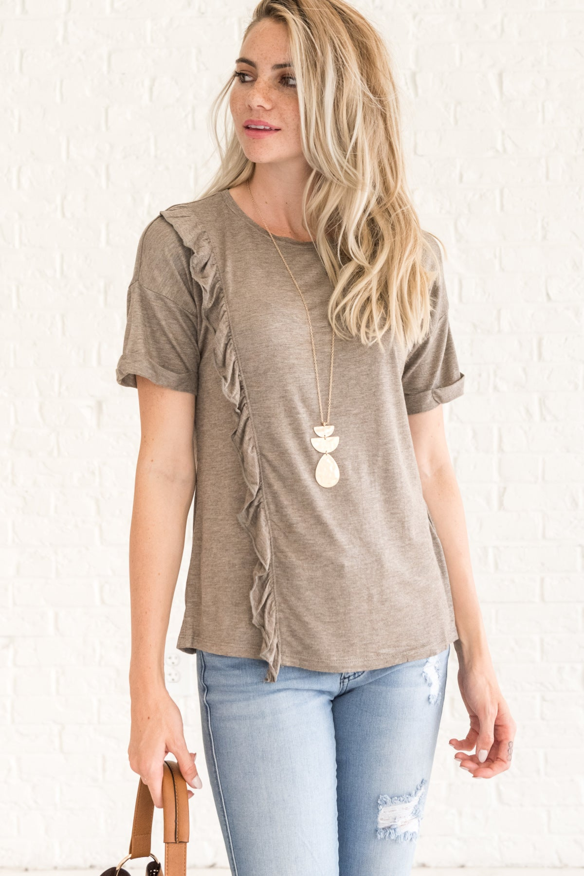 4ee6b67624c52a All  Cause of You Brown Ruffle Top