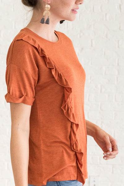 Orange Casual and Comfortable Women's Tops