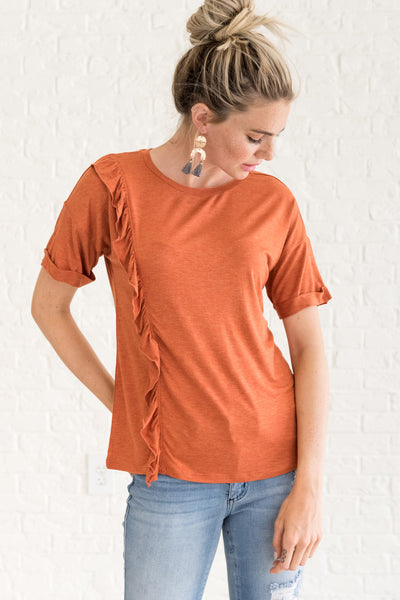 Orange Cute Flowy Tops