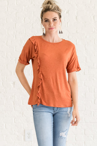 Orange Ruffled Tops for Women